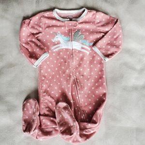 Carter's Pink Fleece Zippered & Footed Pajama 6M